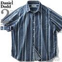 大きいサイズ メンズ DANIEL DODD 半袖 インディゴ ストライプ柄 レギュラー シャツ 春夏新作 916-200227