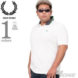 大きいサイズ メンズ FRED PERRY フレッドペリー ロゴ刺繍 鹿の子 半袖 ポロシャツ USA直輸入 m7570