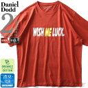 大きいサイズ メンズ DANIEL DODD オーガニック プリント 半袖 Tシャツ WISH ME LUCK azt-200228