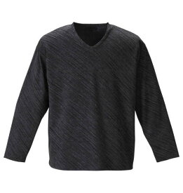 大きいサイズ メンズ in the attic バイアス ジャガード 長袖 Vネック Tシャツ グレー × ブラック 1258-0300-2 2L 3L 4L 5L 6L