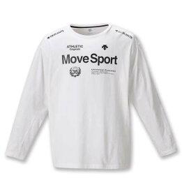 大きいサイズ メンズ DESCENTE ドライコットン 長袖 Tシャツ ホワイト 1278-0361-1 2L 3L 4L 5L 6L