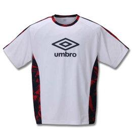 大きいサイズ メンズ UMBRO TR 半袖 プラクティス Tシャツ ホワイト 1278-0220-1 2L 3L 4L 5L 6L