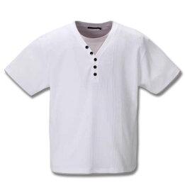 大きいサイズ メンズ Mc.S.P フェイクレイヤード 半袖 Yヘンリーネック Tシャツ ホワイト 1258-0235-1 3L 4L 5L 6L 8L 10L