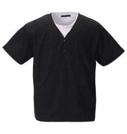 大きいサイズ メンズ Mc.S.P フェイクレイヤード 半袖 Yヘンリーネック Tシャツ ブラック 1258-0235-2 3L 4L 5L 6L 8L 10L
