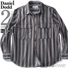 大きいサイズ メンズ 長袖 シャツ デニム ストライプ ビッグポケット レギュラーカラー 秋冬新作 DANIEL DODD 916-200422