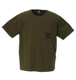 大きいサイズ メンズ RealBvoice AIR TICKET ポケット付 半袖 Tシャツ カーキ 1278-1265-1 3L 4L 5L 6L