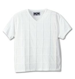 大きいサイズ メンズ Beno ピンタック半袖VTシャツ ホワイト 1158-4263-1 [3L・4L・5L・6L]