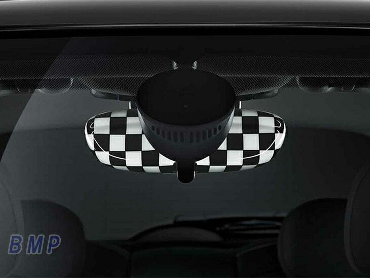 BMW MINI F54/F55/F56/F57/F60用 ルーム・ミラー・カバー CHEQUERED FLAG (3door 5door Convertible Clubman Crossover)