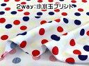 2way(水着・レオタード)生地 2way小ドットプリント(レッド×ネイビー系)