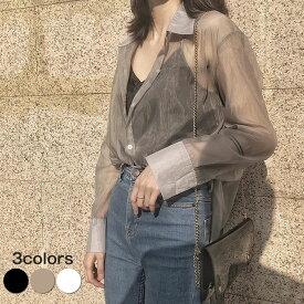シャツ レディース トップス シアーシャツ 透けシャツ シースルー オーバーサイズ ゆったりサイズ ビッグシルエット 幅広カフス シンプル おしゃれ 大人カジュアル こなれ感 春 夏 大きいサイズ 長袖 白シャツ 紫外線対策 UVカット 着痩せ ゆるシャツ