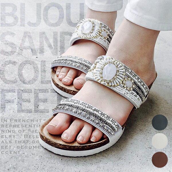 [クリアランス][最大20%クーポン]『 レディース サンダル 』ビジュー付き・女性・女の子・履きやすい・装飾・宝石風・ヒール・ベリージーン・BERRY JEAN・コンフォート・ストラップ・サンダル・サンダル・レディース・サンダル