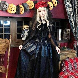 【マスクプレゼント中!!】ゴーストブライドショールドレス 魔女 ドラキュラ ハロウィン コスプレ コス ブライド ドレス 花嫁 黒 かわいい 衣装 仮装 コスチューム