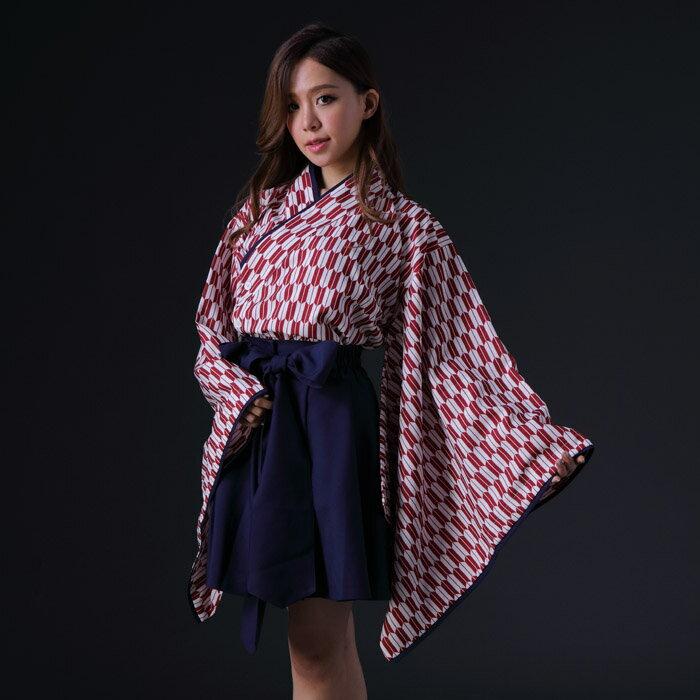 ハロウィンコスプレ ショート丈矢絣袴 花魁風 コスプレ3点セット 衣装