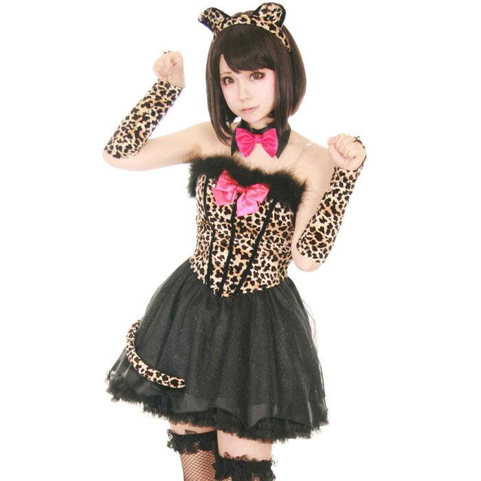 ハロウィンコスプレ 豹柄コスチューム 7点セット こすぷれ はろういん costume852 衣装