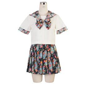 コスプレ セーラー服 セーラー シャツ スカート リボン 3点セット 花柄 大きい サイズ S M 2L セクシー こすぷれ 衣装 costume1021