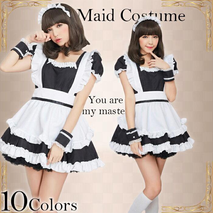 コスプレ メイド服 大きいサイズ S M L 2L 4点セット セクシー b2002 メイド服♪萌コス 衣装