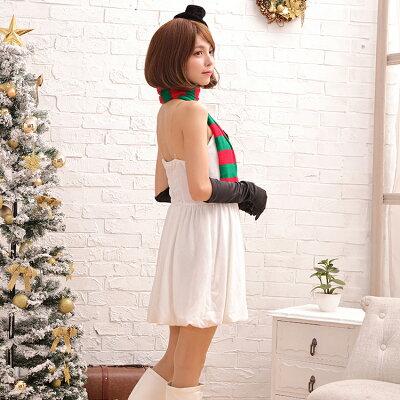 クリスマスコスプレ衣装雪の妖精コスチューム一式雪だるまスノーレディース雪の嬢王スカートマフラークリスマスb7001