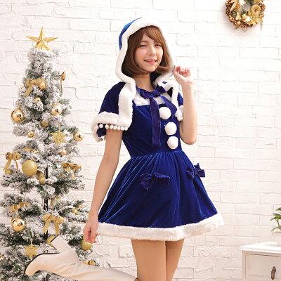 サンタコスチュームラブリーフードコスプレクリスマスセクシー衣装M〜2Lサイズあり5色展開2点セットcostume459衣装