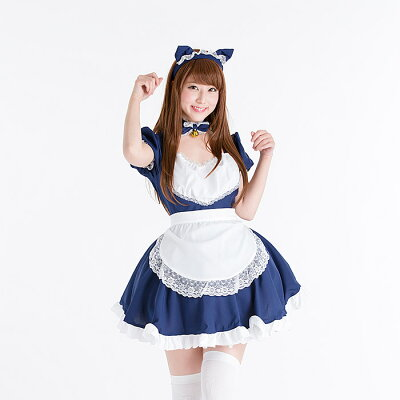 ハロウィンコスプレ黒猫メイド服(大人用)ロリータS〜4Lサイズあり4色展開4点セットcostume542衣装