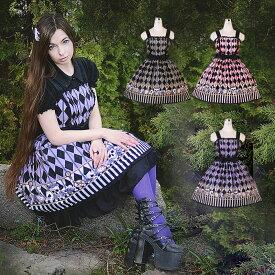 ロリータ ジャンパースカート コスプレ 英文字が逆です ゴスロリ ゴシック メイド 衣装 コスチューム 衣装 アニメ 通販 衣装 あす楽