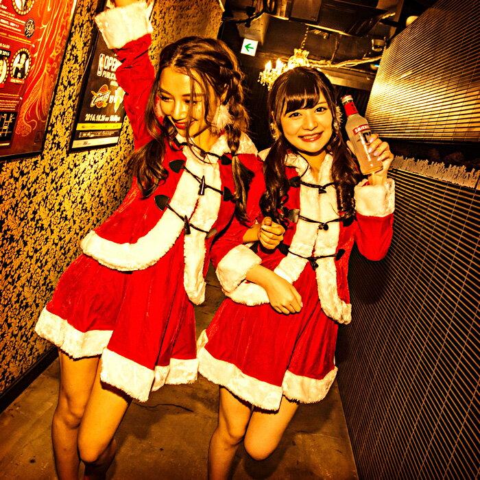 サンタコスチュームスノーエンジェルケープ付 コスプレ クリスマス セクシー衣装 M〜2Lサイズあり 4色展開 2点セット costume549 衣装
