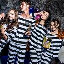 店内50%OFF〜開催中♪ 囚人服 コスプレ メンズ 男性用 M〜4Lサイズあり 2点セット costume827