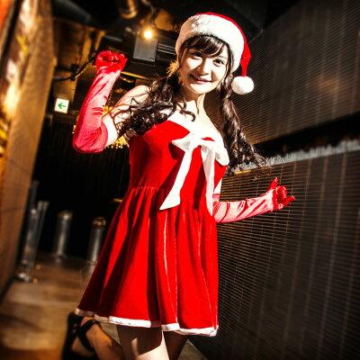 【Mフリー】サンタコスチュームコスプレクリスマスセクシー衣装3点セットz518衣装