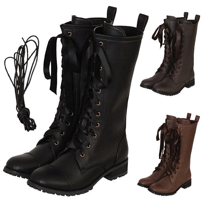 リボンロングブーツ ブーツ パンプス 靴 シューズ コスプレ 22.5〜26.0サイズあり 3色展開 s534【dl_bodyline】 衣装