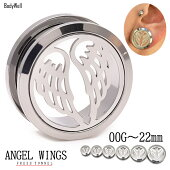 00G12mm天使の羽根angel拡張ピアスフレッシュトンネルボディピアスステンレスピアスBodyWell