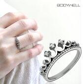 人気王冠クラウンクリスタルストーン指輪リングステンレスアレルギーフリーレディースアクセサリー【BodyWell】