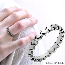 人気デザイン スター 星 指輪 リング ステンレス アレルギーフリー メンズ レディース アクセサリー【BodyWell】