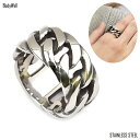 ごつめ 幅広 チェーンデザイン ステンレスリング 指輪 ステンレスアクセサリー 金属アレルギー ノンアレルギー…