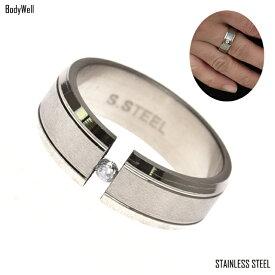 サンド クリスタルストーン ステンレスリング 指輪 ステンレスアクセサリー 金属アレルギー ノンアレルギー ユニセックス【BodyWell】