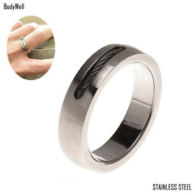 ワイヤーロープ ステンレスリング 指輪 ステンレスアクセサリー 金属アレルギー ノンアレルギー ユニセックス【BodyWell】