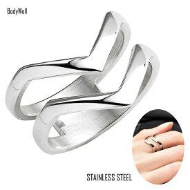 Vデザイン ステンレス リング 指輪 メンズ レディース ステンレスアクセサリー ペアアクセサリー ペアリング 結婚 金属アレルギー対応