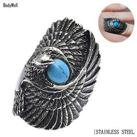 アメリカン インディアン イーグル ステンレス リング 指輪 メンズ レディース ステンレスアクセ【BodyWell】
