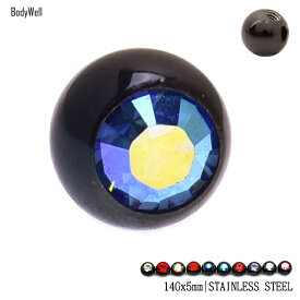 14G 14ゲージ用 【選べるカラー】 COOLに決まる ブラックAB ボール5mm キャッチ ボディピアス【BodyWell】