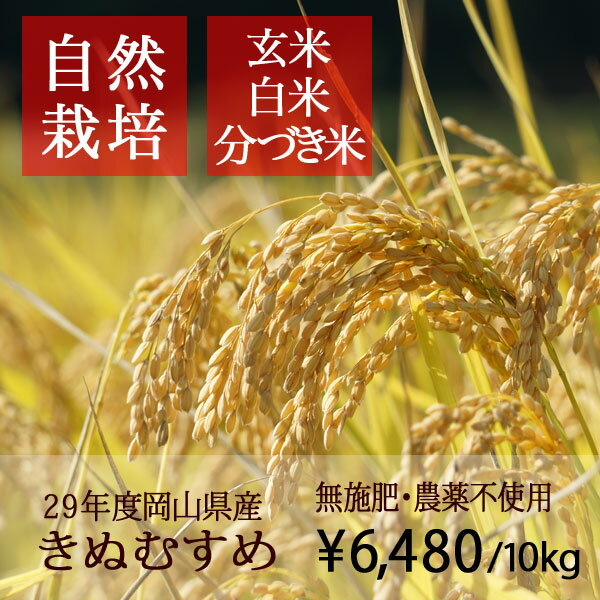 【無肥料 自然栽培米】【農薬不使用】【玄米】【新米】【29年産】 岡山県産 きぬむすめ 10kg(5kg×2袋) 真庭市 旧北房町産
