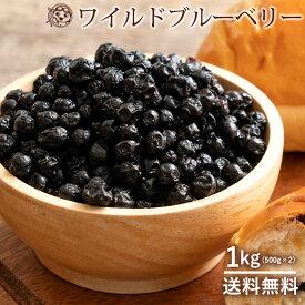 ブルーベリー ドライブルーベリー 野生種 1kg (500g×2) ドライフルーツ [ ワイルドブルーベリー ドライ フルーツ 乾燥果実 お徳用 製菓材料 送料無料 1キロ 1KG ] お取り寄せグルメ