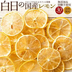 ドライフルーツ 送料無料 白日の国産レモン 30g 無添加 砂糖不使用 国産 愛媛県産 レモン れもん 国産レモン ノーワックス 柑橘 乾燥果実 ドライ フルーツ 白日 国内加工 お試し サイズ