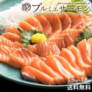 サーモン 刺身 プルミエサーモン ノルウェー産 アトランティックサーモン 半身 片身 約1.5kg~1.8kg 冷蔵 約6~10人分 [送料無料 サーモン 刺身 半身 魚 鮮魚 直送 グルメ 鮭 切り身 無添加 鮭切り身
