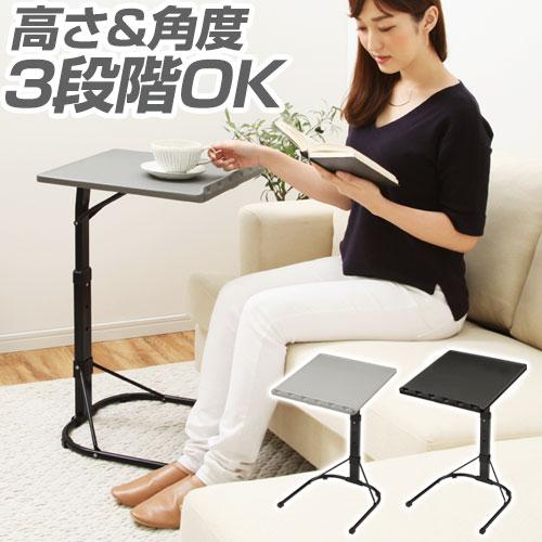\10,800円以上で送料無料/ サイドテーブル コンパクト 高さ調節 完成品 ブラック/グレー TBL500365