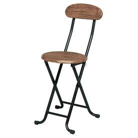 折り畳みパイプ椅子 丸いす 木目調 ブラウン/ナチュラル CHR100203