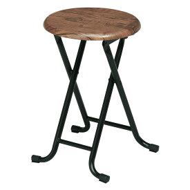 折り畳みパイプ椅子 丸いす 木目調 ブラウン/ナチュラル CHR100202