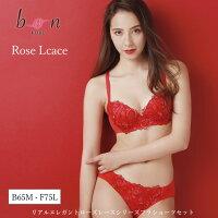 【bon】プリントチュールローズ刺繍レースシリーズ☆ブラショーツセット【-30-】