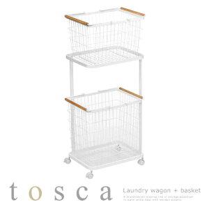 tosca ランドリー収納 洗濯かご 2段 洗濯物 約 高さ95cm スチール ホワイト SNE900029