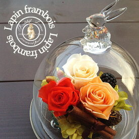 ▼選べる4色♪幸せを願う『幸運のうさぎ〜ラパン・フランボワーズ』プリザーブドフラワー ガラスドーム ギフト