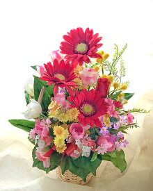【送料無料】赤いガーベラのフラワーバスケット【数量限定】【smtb-s】【造花】【人工観葉植物】【光触媒】