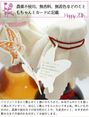 古希プレゼント無農薬国産バラジュースの古希テディベアセット(一筆描きデザイン名入れラベル)薔薇ローズジュース無香料無着色オーガニックジュースセットちゃんちゃんこ