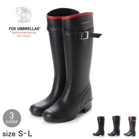 FOX UMBRELLAS フォックスアンブレラ ブラック レインブーツ ロングブーツ 英国王室御用達 送料無料 通勤・通学 プレゼント 雨の日 雪の日 防水 レインシューズ 長靴 ラバー ブーツ ガーデニング ポイント10倍